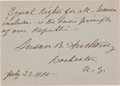 "Autographs:Celebrities, Susan B. Anthony Quote Signed ""Susan B. Anthony""...."