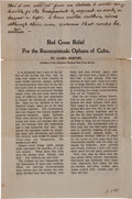 """Autographs:Celebrities, Clara Barton Annotated Article """"Red Cross Relief For theReconcentrado Orphans of Cuba"""", Circa 1899...."""