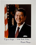 """Autographs:U.S. Presidents, Ronald Reagan Inscribed Photograph """"To James Saylor - With Best Wishes Ronald Reagan""""...."""