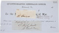 Autographs:Military Figures, Confederate Signatures: Confederate Naval Admiral Raphael Semmes and General Edmund Kirby Smith....