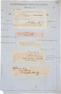 Autographs:Military Figures, Pierre G. T. Beauregard Signature, Along with Four Other Confederates...