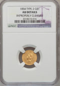 Gold Dollars: , 1854 G$1 Type Two--Improperly Cleaned--NGC Details. AU. NGC Census:(194/4847). PCGS Population (356/2493). Mintage: 783,94...