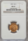 Liberty Quarter Eagles: , 1893 $2 1/2 MS63 NGC. NGC Census: (165/195). PCGS Population(188/162). Mintage: 30,000. Numismedia Wsl. Price for problem ...