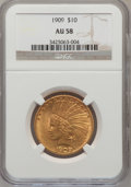Indian Eagles: , 1909 $10 AU58 NGC. NGC Census: (379/1272). PCGS Population(364/1006). Mintage: 184,700. Numismedia Wsl. Price for problem ...