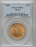Indian Eagles: , 1908 $10 Motto MS61 PCGS. PCGS Population (384/2002). NGC Census:(997/1905). Mintage: 341,300. Numismedia Wsl. Price for p...