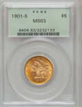 Liberty Half Eagles: , 1901-S $5 MS63 PCGS. PCGS Population (1311/1142). NGC Census:(1219/1573). Mintage: 3,648,000. Numismedia Wsl. Price for pr...