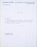 Books:Signed Editions, William F. Buckley, Jr. Two Typed Letters Signed and on National Review Letterhead. Single page each and bot...