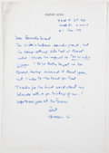 Books:Signed Editions, Herman Wouk. Autograph Letter Signed and on Author's Letterhead. Single page and dated 1974. Letter from Wouk to Barnaby Con...