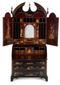 Furniture : English, FROM THE ESTATE OF HENRY HATHAWAY, FILM DIRECTOR, BEVERLY HILLS, CALIFORNIA . GEORGE II STYLE JAPANNED BUREAU BOOKCASE ...