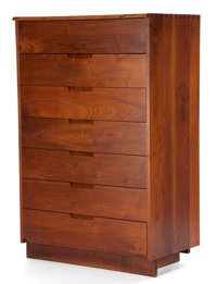 FROM THE ESTATE OF EVA SHURE  GEORGE NAKASHIMA (AMERICAN 1905-1990) WALNUT SEVEN-DRAWER CHEST circa 1980
