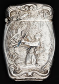 Silver Smalls:Match Safes, AN AMERICAN SILVER FLY FISHING MATCH SAFE. Unknown maker, American,circa 1890. Marks: STERLING. 2-1/2 inches high (6.4 ...