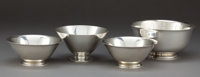 A TIFFANY & CO. GROUP OF FOUR SILVER BOWLS Tiffany & Co., New York, New York, circa 1950 Marks: TIFFANY & C...