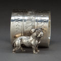 Silver Holloware, American:Napkin Rings, AN AMERICAN SILVER-PLATED FIGURAL NAPKIN RING . Maker unknown,American, circa 1875. Unmarked. 1-3/4 inches high (4.4 cm). 3...