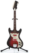 Musical Instruments:Electric Guitars, 1960's Penncrest 2 pickup Redburst Solid Body Electric Guitar ...