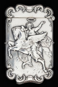Silver Smalls:Match Safes, A KERR SILVER MATCH SAFE. Wm. B. Kerr & Co., Newark, NewJersey, circa 1900. Marks: (fasces), 19. 2-5/8 inches high(6.7...