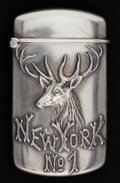 Silver Smalls:Match Safes, A WEBSTER SILVER ELK'S LODGE MATCH SAFE. Webster Company, NorthAttleboro, Massachusetts, circa 1900. Marks: (W with sword),...