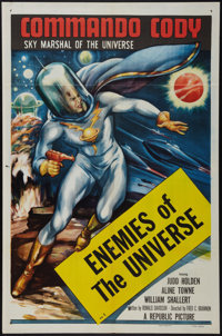 """Commando Cody (Republic, 1953). One Sheet (27"""" X 41"""") Chapter 1 -- """"Enemies of the Universe."""" Serial..."""