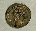 Ancients:Roman, Ancients: Octavian. 29-28 B.C. AR quinarius (13 mm, 1.92 g).Italian mint. Bare head right / Victory standing right, holdingwreath an...