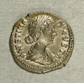 Ancients:Roman, Ancients: Faustina II, wife of Marcus Aurelius. AR denarius (18 mm,3.35 g). Rome, A.D. 161-164. Draped bust right / Fecunditasstandi...