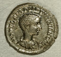 Ancients:Roman, Ancients: Diadumenian. Caesar, A.D. 217-218. AR denarius (20 mm,3.42 g). Rome. Bare-headed and draped bust right / Diadumenianstandi...