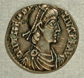 Ancients:Roman, Ancients: Theodosius I. A.D. 379-395. AR siliqua (17 mm, 1.89 g).Trier, A.D. 388-395. Diademed, draped, and cuirassed bust right /Ro...