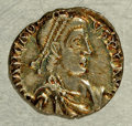 Ancients:Roman, Ancients: Arcadius. A.D. 383-408. AR siliqua (16 mm, 1.28 g) Trier.Diademed, draped, and cuirassed bust right / Virtus seated left,h...