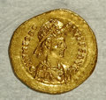 Ancients:Roman, Ancients: Theodosius II. A.D. 402-450. AV tremissis (14 mm, 1.50g). Constantinople, A.D. 408-419. Diademed, draped and cuirassedbust...