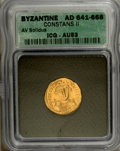 Ancients:Byzantine, Ancients: Constans II. 641-668. AV solidus (19 mm). Constantinople,641-646. Crowned and draped facing bust, holding globus cruciger/...