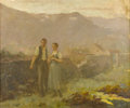 Fine Art - Painting, European:Antique  (Pre 1900), After JEAN FRANCOIS MILLET (French, 1814-1875). The StrollingCouple. Oil on canvas. 27-1/2in. x 32-1/3in.. Inscribed at...(Total: 1 Item)