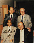 Autographs:Photos, 1990 Hall of Fame Catchers Signed Large Photograph. The men behind the masks. This quartet of Hall of Fame catchers reunited...
