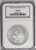 Argentina: , Argentina: Republic Peso 1883, KM29, AU58 NGC, fully lustrous withjust bit of wear showing in the hair details....