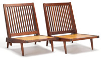 FROM THE ESTATE OF EVA SHURE  PAIR OF GEORGE NAKASHIMA (AMERICAN, 1905-1990) WALNUT ARMLESS CHAIRS WITH UPHOLSTERED SEA...