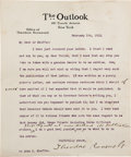 Autographs:U.S. Presidents, Theodore Roosevelt Typed Letter Signed ...