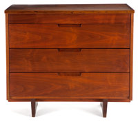 FROM THE ESTATE OF EVA SHURE  GEORGE NAKASHIMA (AMERICAN, 1905-1990) WALNUT CHEST OF DRAWERS circa 1980 M