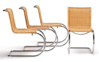 FROM THE ESTATE OF EVA SHURE  TUBULAR STEEL AND WICKER DINING CHAIRS AFTER LUDWING MIES VAN DER ROHE (GERMAN AMERICAN...