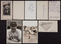 Baseball Collectibles:Others, Baseball Stars Signed Index Cards and Photographs Lot of 8....