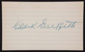 Baseball Collectibles:Others, Clark Griffith Signed Index Card. ...