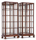Furniture , PAIR OF ENGLISH DISPLAY CABINETS . Circa 1900. 69 x 30 x 19-1/2 inches (175.3 x 76.2 x 49.5 cm) (each). ... (Total: 2 Items)