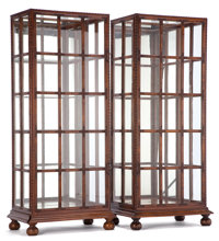 PAIR OF ENGLISH DISPLAY CABINETS Circa 1900 69 x 30 x 19-1/2 inches (175.3 x 76.2 x 49.5 cm) (each)