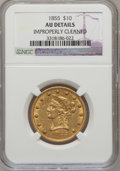 Liberty Eagles, 1855 $10 -- Improperly Cleaned -- NGC Details. AU. NGC Census:(47/367). PCGS Population (52/88). Mintage: 121,701. Numisme...