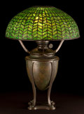 Art Glass:Tiffany, TIFFANY STUDIOS GREEK URN OIL LAMP BASE WITH GREEN HERRINGBONESHADE . New York, New York, circa 1910. Marks to canister:...