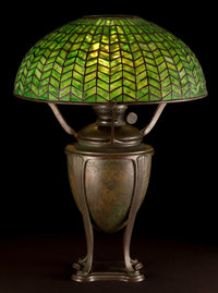 TIFFANY STUDIOS GREEK URN OIL LAMP BASE WITH GREEN HERRINGBONE SHADE New York, New York, circa 1910 Marks to c