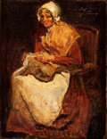Paintings, FRANÇOIS BONVIN (French, 1817-1887). Seated Woman Knitting . Oil on canvas. 10 x 8 inches (25.4 x 20.3 cm). Signed upper...