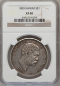 Coins of Hawaii: , 1883 $1 Hawaii Dollar XF40 NGC. NGC Census: (47/221). PCGSPopulation (117/381). Mintage: 500,000. (#10995)...