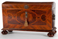 Furniture : Continental, A CONTINENTAL MAHOGANY AND MARQUETRY COFFER . 18th century. 30-1/2x 48 x 25-1/2 inches (77.5 x 121.9 x 64.8 cm). . ...