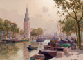 Paintings, JAN KNIKKER JR. (Dutch, 1911-1990). View of the Montalbaans Tower on the Oudeschans Canal, Amsterdam. Oil on canvas . 20...