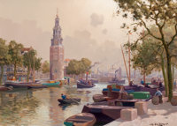 JAN KNIKKER JR. (Dutch, 1911-1990) View of the Montalbaans Tower on the Oudeschans Canal, Amsterdam