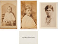 Photography:CDVs, Lot of Three Willa Cather Photographs and a Calling Card....