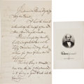 Autographs:Statesmen, Francis Spinner Autograph Letter Signed and Engraving.... (Total: 2Items)
