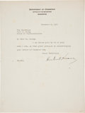 "Autographs:U.S. Presidents, Herbert Hoover Typed Letter Signed as Secretary of Commerce""Herbert Hoover""...."